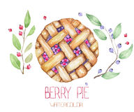 An image with the watercolor berry pie and branches of blueberry. An image with the  watercolor berry pie and branches of blueberry. Painted hand-drawn on a Royalty Free Stock Photos
