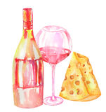 Image of the watercolor bottle of the red wine (champagne), glass with red wine, cheese. Royalty Free Stock Image