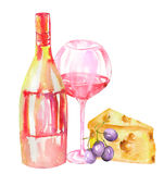 Image of the watercolor bottle of the red wine (champagne), glass with red wine, cheese and violet grape. Stock Image