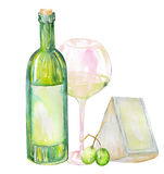 Image of the watercolor white wine bottle, glass of the white wine, Brie cheese and green grape. Painted hand-drawn in a watercolo Royalty Free Stock Image