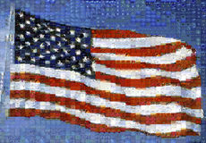 This is an image of a waving American flag attached to a flag pole. The image is a digital mosaic made up of hundreds of smaller i. Mages. It is based on their Stock Photo