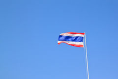 Image of waving Thai flag of Thailand with blue sk Royalty Free Stock Image