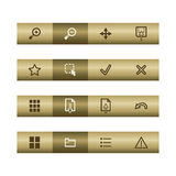 Image web viewer icons on bronze bar. Web icons on bronze bar. Vector file has layers, all icons in two versions are included Royalty Free Stock Photos