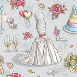 Image of wedding dresses, glasses, rings, cake and other items Stock Image