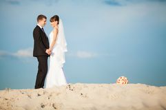 An image of wedding session on the beach Stock Photo