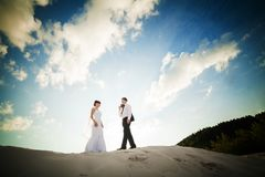 An image of wedding session on the beach Stock Image