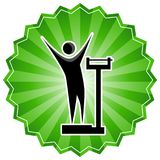 Weight Loss Scale Stick Figure Man Green Starburst Sticker Stock Photography