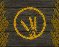 An image of wheat ears on a wooden texture. Vector illustration Stock Image