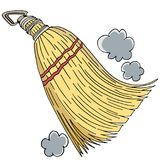 Whisk Sweep Broom Drawing Cartoon. An image of a Whisk Sweep Broom Drawing isolated on white Stock Illustration