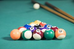 Sticks and billiard balls on the pool table. Image of white ball with two sticks and fifteen billiard balls on the pool table royalty free stock photography