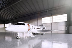Image of White Matte Luxury Generic Design Private Jet parking in hangar airport. Concrete floor. Business Travel Royalty Free Stock Images