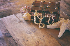 Image of white pearls necklace in treasure chest royalty free stock images
