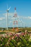 wind turbine against blue sky Royalty Free Stock Image