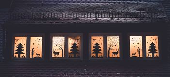 Image of window decoration with forrest fairy tale silhouettes stock photography
