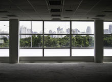 Image of windows in morden office building. Interior architecture Stock Images