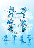 Image of winter sports. Vector Illustration of  winter sports. Alpine skiing, cross-country skiing, snowboarding, ice skating Royalty Free Stock Image