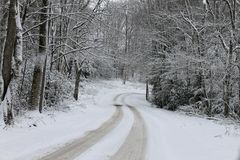 Snowy Country Road. Image of a winter wonderland in southern West Virginia Stock Photo
