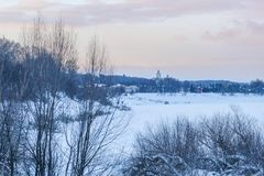 Image of winter wood. Landscape with the image of winter wood royalty free stock photography