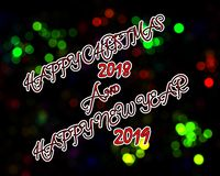 Happy Christmas and Happy New Year 2019 vector illustration