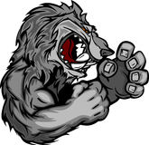 Image of a Wolf or Coyote Mascot. Coyote or Wolf Fighting Mascot Body Cartoon Illustration Stock Photo