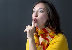 Silence. An image of a woman asking for silence royalty free stock photos