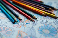 Image of woman coloring, adult coloring book trend, for stress r Stock Images