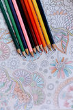 Image of woman coloring, adult coloring book trend, for stress r Royalty Free Stock Photography