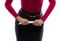 Image of woman crumpling paper Stock Photo