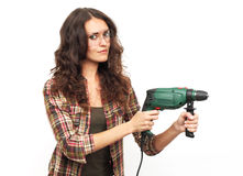 Image of woman with drill over white background Royalty Free Stock Images