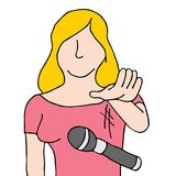 Woman dropping the microphone Cartoon. An image of a woman dropping the mic Cartoon isolated Royalty Free Illustration