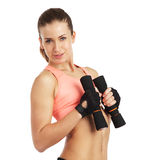 Image of woman with dumbbells - isolated over white background Royalty Free Stock Photography