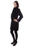 Image of woman in fake karakul coat Stock Photo