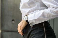 Image of woman hand at business suit wearing white shirt with cu Stock Photography