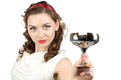 Image of woman with metal snifter Royalty Free Stock Images