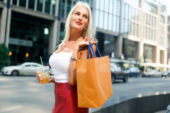 Image of woman with packages Royalty Free Stock Photos
