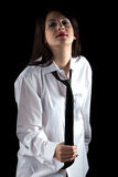 Image of woman pulling tie Royalty Free Stock Photos