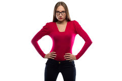 Image of woman in red with hands on hips Stock Image