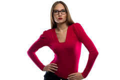 Image of woman in red leaned aside Royalty Free Stock Images