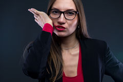 Image of woman smudging lipstick Stock Photo