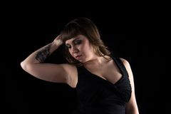 Image of woman with tattoo on hand Royalty Free Stock Photo