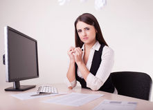 Image of woman with too much work Stock Photo