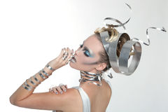 Image of a Woman Wearing Styled Metal Work royalty free stock photography