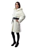 Image of woman in white fur coat, half turned Royalty Free Stock Photography