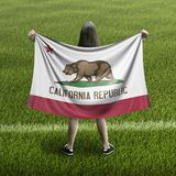 Women and California flag. Image of Women and California flag royalty free stock image