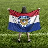 Women and Missouri flag royalty free stock photography