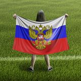 Women and Russian flag. Image of Women and Russian flag stock photos