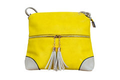 Image of women's yellow leather bag isolated on white background Stock Photos