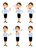 Women working in summer office, 6 different gestures and facial. Image of women working in summer office, 6 different gestures and facial expressions Royalty Free Stock Images