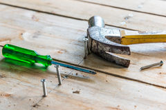 Image of wood desk fixing tools Stock Images