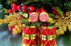 An image of wooden bingo kegs with numbers of coming new year Royalty Free Stock Photography